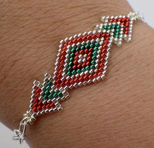 Brick Stitch Diamond Bracelet Kit - Red, Green, & Silver