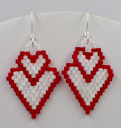 Double Heart Earrings Pattern - Increasing & Decreasing Brick Stitch - Instant Download Pattern