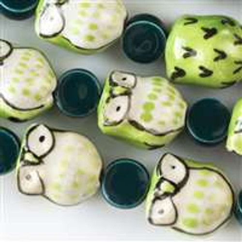 Ceramic 14x16mm Light Green Owls alternating with 10mm Teal Coins