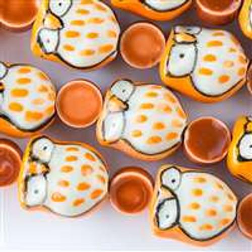 Ceramic 14x16mm Orange Owls alternating with 10mm Orange Coins