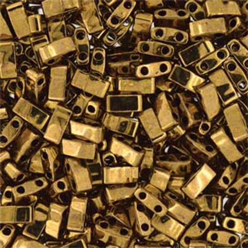 Dark Bronze Half Tila Beads (2 Hole)