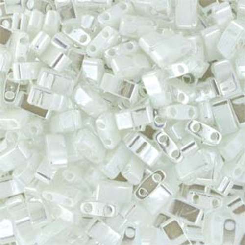 White Pearl Half Tila Beads (2 Hole)