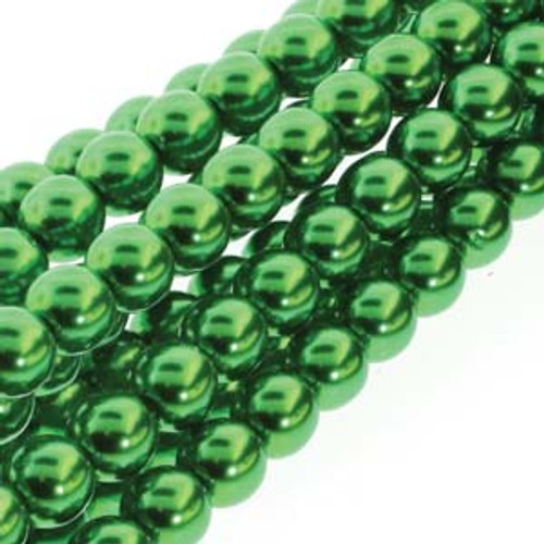 4mm Christmas Green Glass Round Pearls - 120 Beads