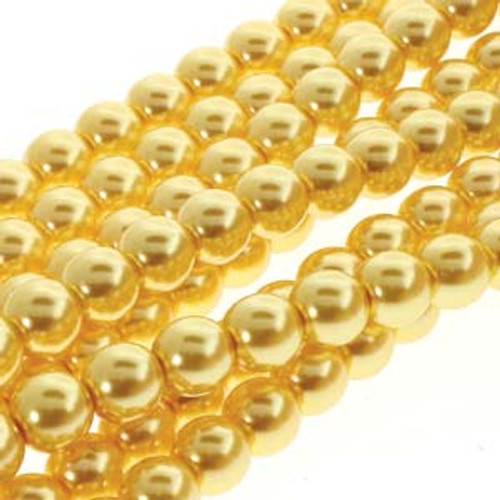 4mm Sun Glow Glass Round Pearls - 120 Beads