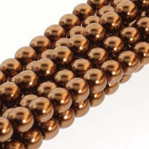 4mm Antique Gold Glass Round Pearls - 120 Beads