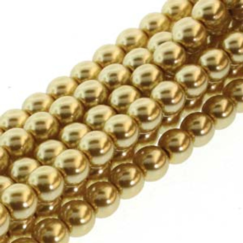 4mm Gold Glass Round Pearls - 120 Beads