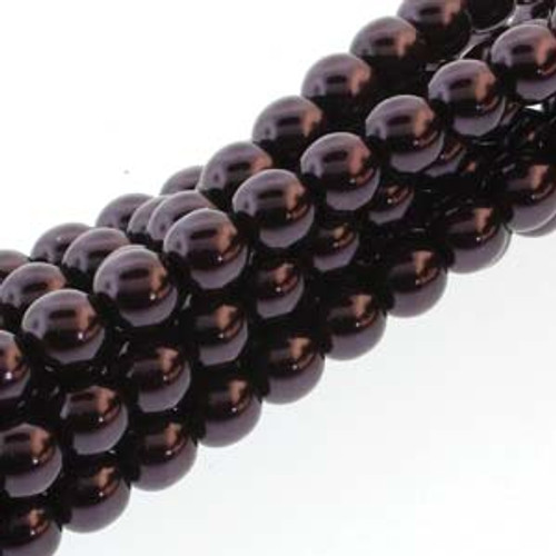 4mm Eggplant Glass Round Pearls - 120 Beads