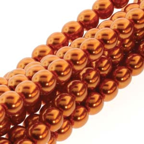 4mm Burnt Orange Glass Round Pearls - 120 Beads