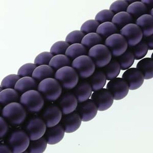 4mm Matte Purple Glass Round Pearls - 120 Beads