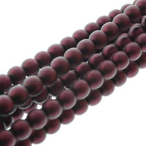 4mm Matte Burgundy Glass Round Pearls - 120 Beads