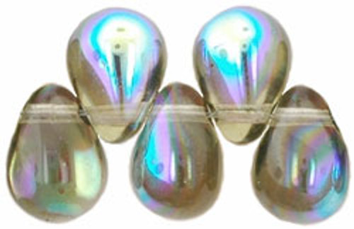 8x6mm Black Diamond AB Tear Drops (48-50 Beads)