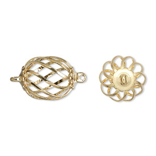 15x12mm Gold Plated Oval Cage (2 Ct.)