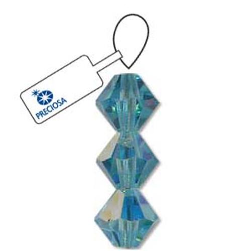 3mm Aqua AB Preciosa Bicone (48pc)
