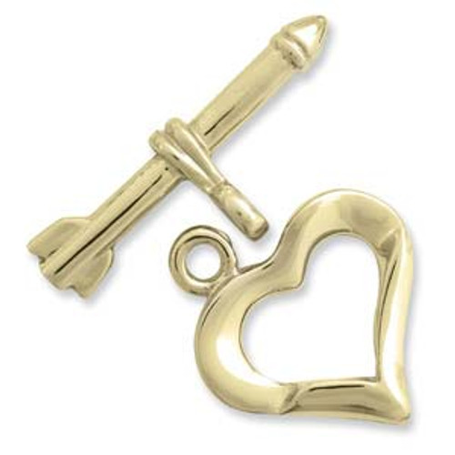 (2 Sets) Thick  Heart Gold Plated toggle