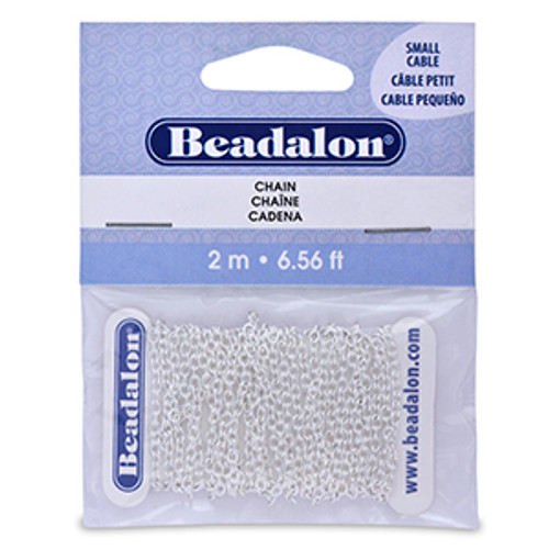 Chain, 2.3 mm (.091 in) Small Cable, Silver Plated, 2 m (6.56 ft)