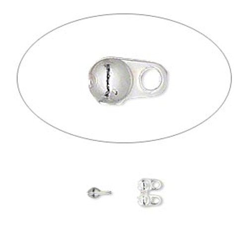 4x2.5mm Side Clamp on with double loops (24pk) Silver Plated