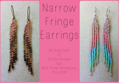Narrow Fringe Earring Instant Download PDF Pattern