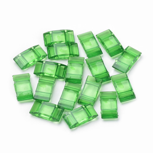25pk Green Carrier Beads (17x9x5mm) Two Hole