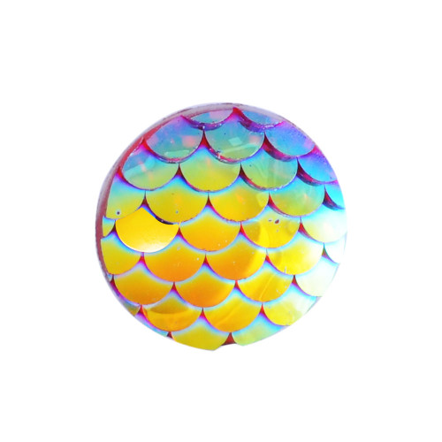 12x3mm Gold Mermaid Scale Resin Cabochons (6pk)