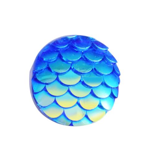12x3mm Royal Blue Mermaid Scale Resin Cabochons (6pk)