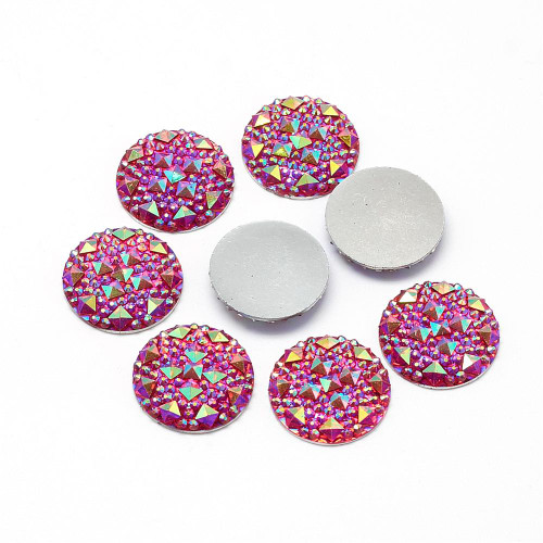 Resin Cabochons, Buttom Silver Plated, AB Color, Half Round/Dome, Red, 18x3.5mm (6pk)