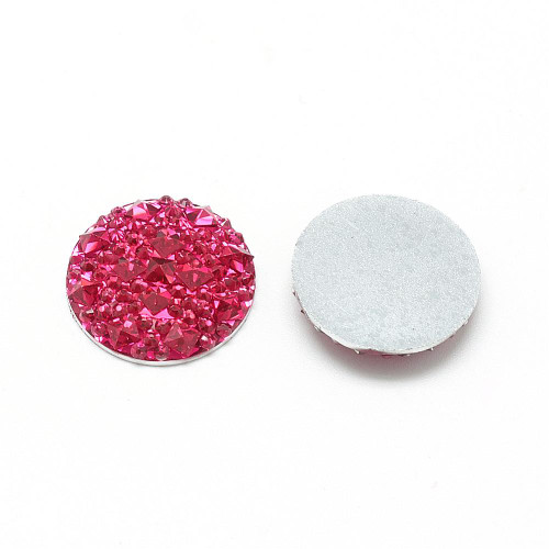 Resin Cabochons, Buttom Silver Plated, Half Round/Dome, Cerise, 18x3.5mm (6pk)
