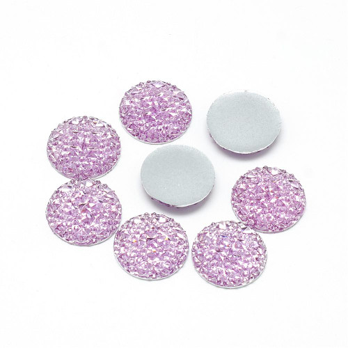 Resin Cabochons, Buttom Silver Plated, Half Round/Dome, Medium Purple, 18x3.5mm (6pk)