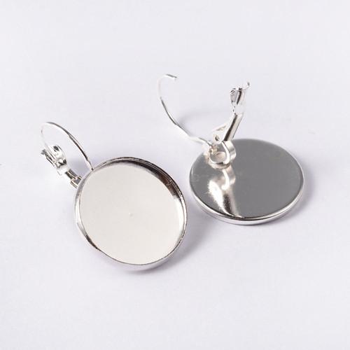Brass Hoop Earrings, Lever Back Hoop Earrings, Round, Silver, 20mm wide, 32mm long; Tray: 18mm; Pin: 0.8mm (1 Pair)