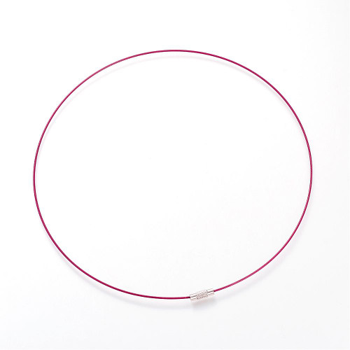 """Steel Wire Necklace Cord, Nice for DIY Jewelry Making, with Brass Screw Clasp, Medium Violet Red, 17.5""""; 1mm; clasp: 12x4mm"""