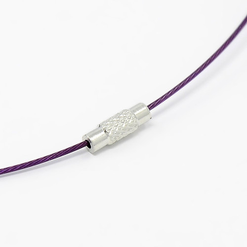 """Steel Wire Necklace Cord, Nice for DIY Jewelry Making, with Brass Screw Clasp, Purple, 17.5""""; 1mm; clasp: 12x4mm"""