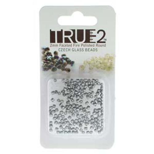Pastel Light Grey True 2mm Fire Polish Beads - Approx 2 Grams