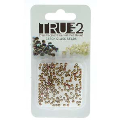 Gold Rainbow True 2mm Fire Polish Beads - Approx 2 Grams
