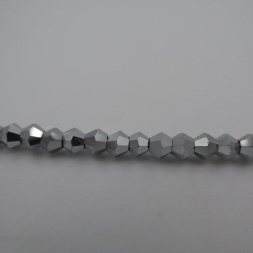 4mm White Gold Thunder Polish Crystal Bicones