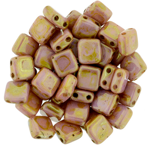 6mm 2-Hole Opaque Rose Gold Topaz Tile Beads - 50pk
