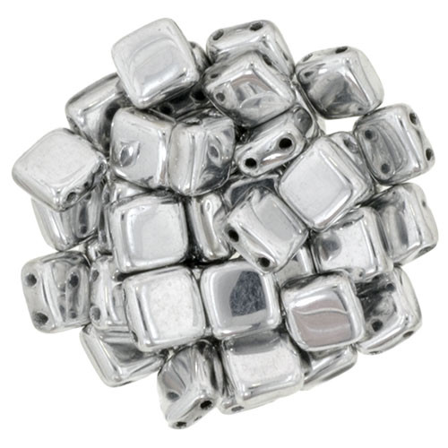 6mm 2-Hole Silver Tile Beads - 50pk