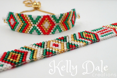 Odd Count Peyote Christmas Diamond Bracelet PRINTED Pattern - Mailed to your home
