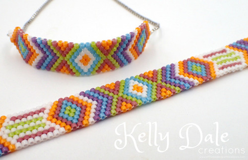 Odd Count Peyote Multi Color Diamond Bracelet PRINTED Pattern- Mailed to your home