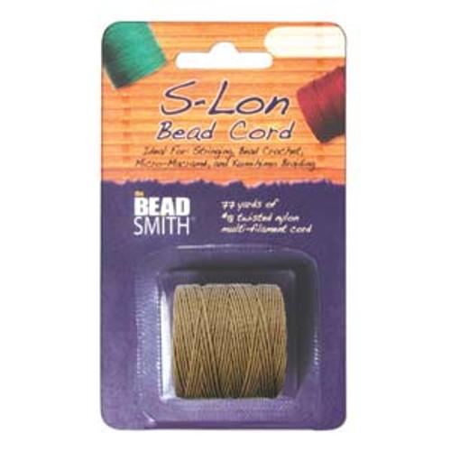 S-LON BEAD CORD TEX 210 1/CD MEDIUM BROWN-Approx 77 Yards