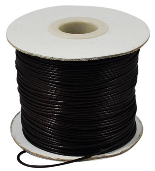 Korean Waxed Polyester Cord, Bead Cord, Black, 1.5mm(Sold Per Yard)