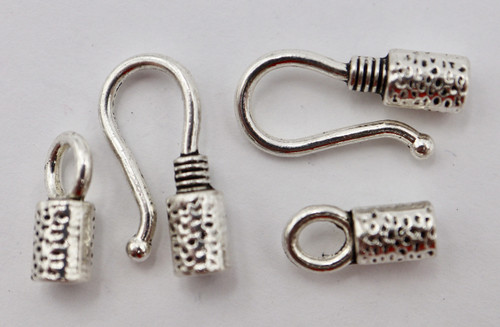 17x4mm Textured Glue In Hook & Eye Clasp (2 Sets)