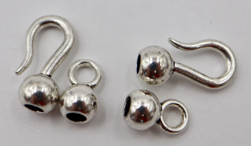 15.5 x 6mm Ball End Hook & Eye Clasp - Glue In - 2 sets