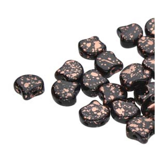 7.5x7.5mm Jet Copper Splash Two Hole Ginko Beads (8 Grams) Approx 30-35 Beads
