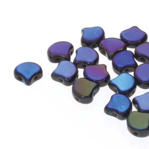 7.5x7.5mm Jet Full Azuro Two Hole Ginko Beads (8 Grams) Approx 30-35 Beads