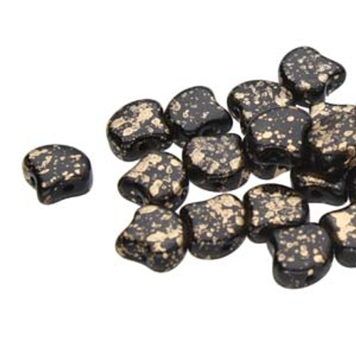 7.5x7.5mm Jet Gold Splash Two Hole Ginko Beads (8 Grams) Approx 30-35 Beads