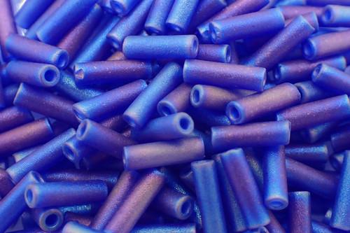 #3 6mm Matte Cobalt AB Miyuki Bugle Beads 8669