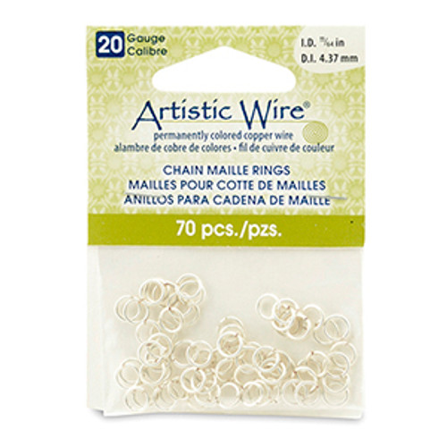 20 Gauge Artistic Wire, Chain Maille Rings, Round, Tarnish Resistant Silver, 11/64 in (4.37 mm), 70 pc