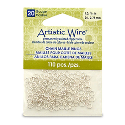 20 Gauge Artistic Wire, Chain Maille Rings, Round, Tarnish Resistant Silver, 7/64 in (2.78 mm), 110 pc
