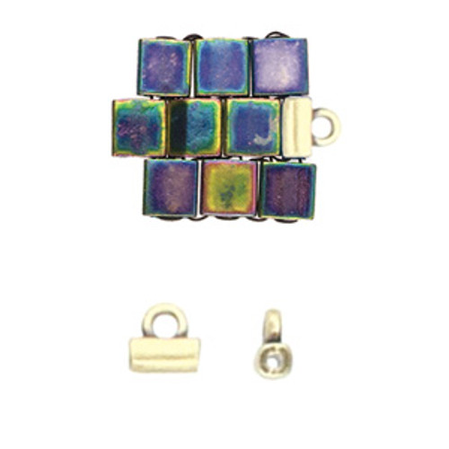 Soros Antique Brass Tila Bead Endings 2pk