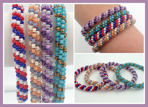 Tubular Peyote Stitch Bangle Bracelet Tutorial PRINTED Pattern