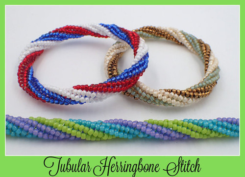Tubular Twisted Herringbone Bangle Bracelet PRINTED Pattern